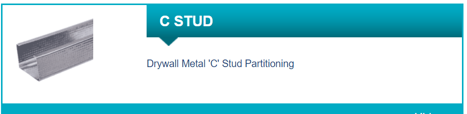 Libra Drywall Metal 'C' Stud Partitioning